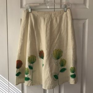 Boden Linen embroidered and cotton lined skirt 10R